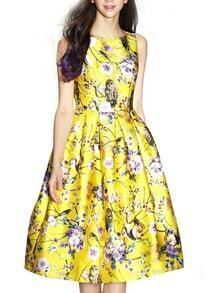 Yellow Sleeveless Owl Print Flare Dress