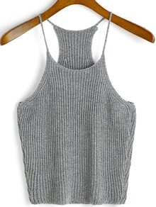 Spaghetti Strap Knit Grey Cami Top