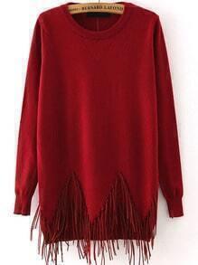Round Neck Tassel Wine Red Sweater