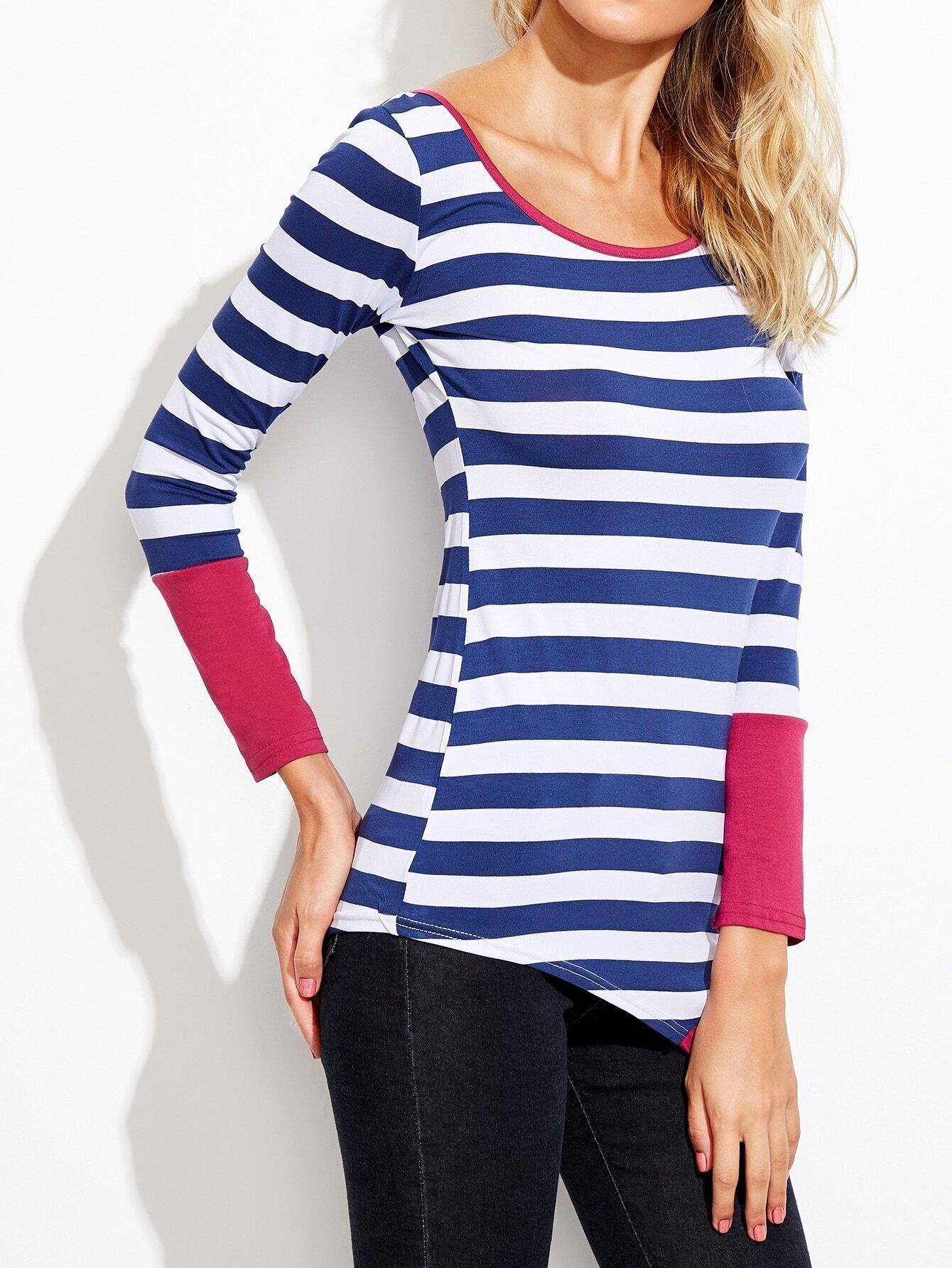 Long sleeve striped asymmetrical t shirt for Long length long sleeve t shirts