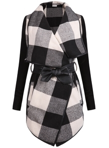 Black White Long Sleeve Plaid Belt Coat