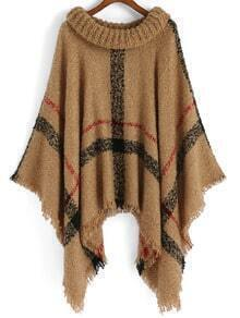 Turtleneck Plaid Tassel Loose Poncho Coat