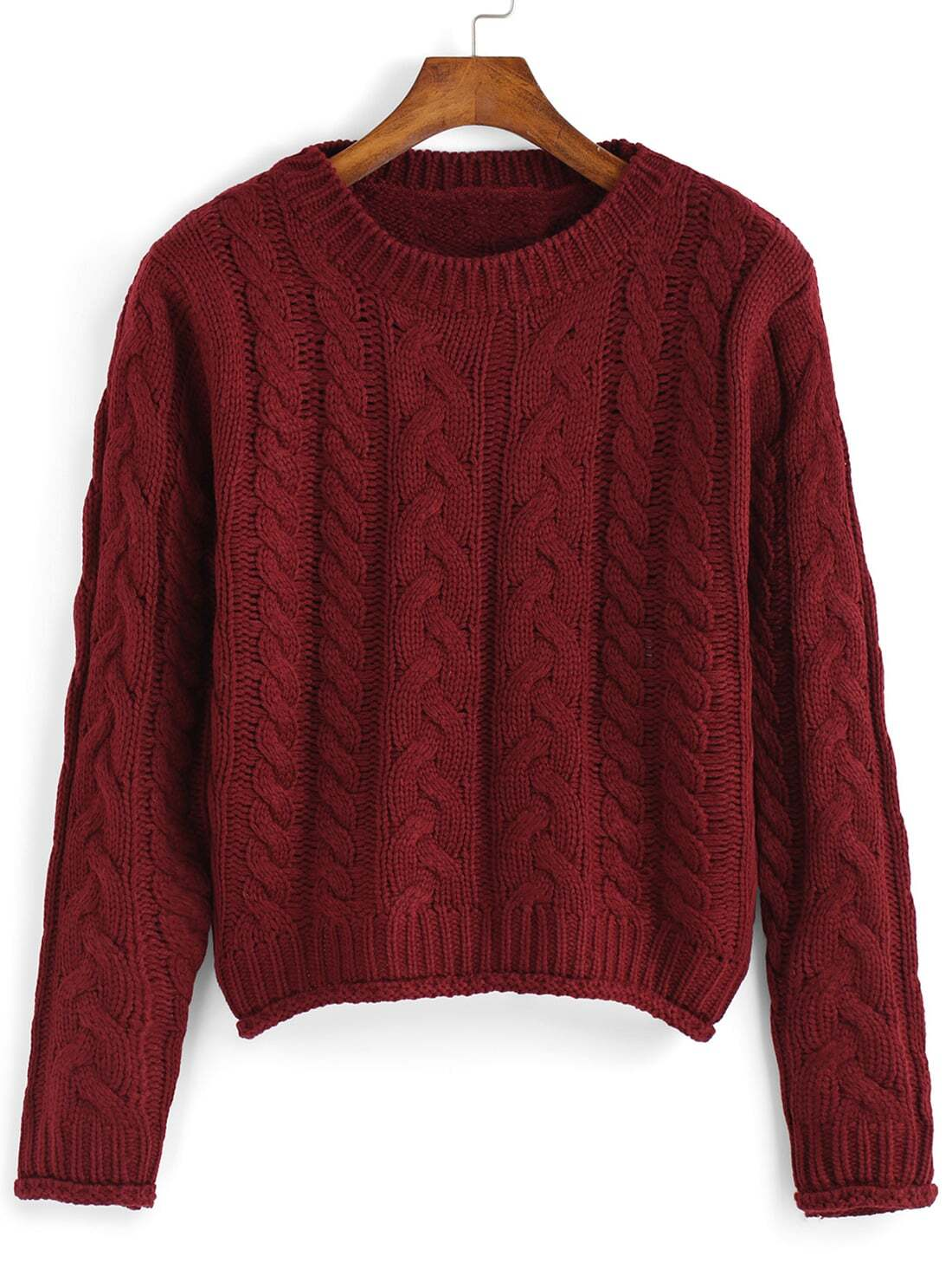 Cable Knit Crop Burgundy SweaterFor Women-romwe