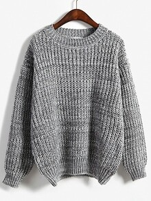 Round Neck Dolman Grey Sweater