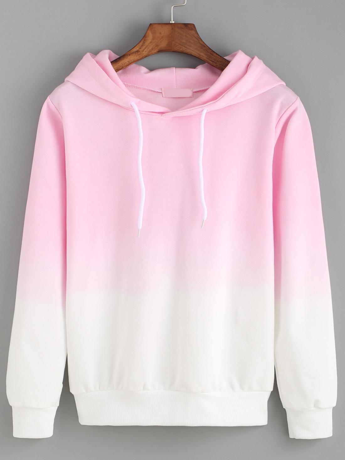 0e43749df6531 Hooded Pink Ombre Loose Sweatshirt -ROMWE