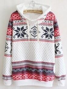 Hooded Snowflake Print Sweatshirt