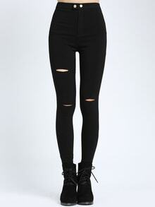 Cut Out Elastic Denim Black Pant