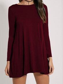 Long Sleeve Shift Burgundy Dress