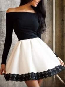 Off The Shoulder Contrast Lace Flare Dress