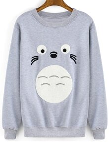 Round Neck Cartoon Print Grey Sweatshirt