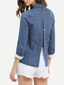 Lapel Polka Dot Slit Blouse