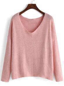 V Neck Loose Pink Sweater