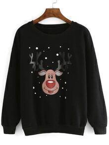 Cartoon Print Loose Black Sweatshirt