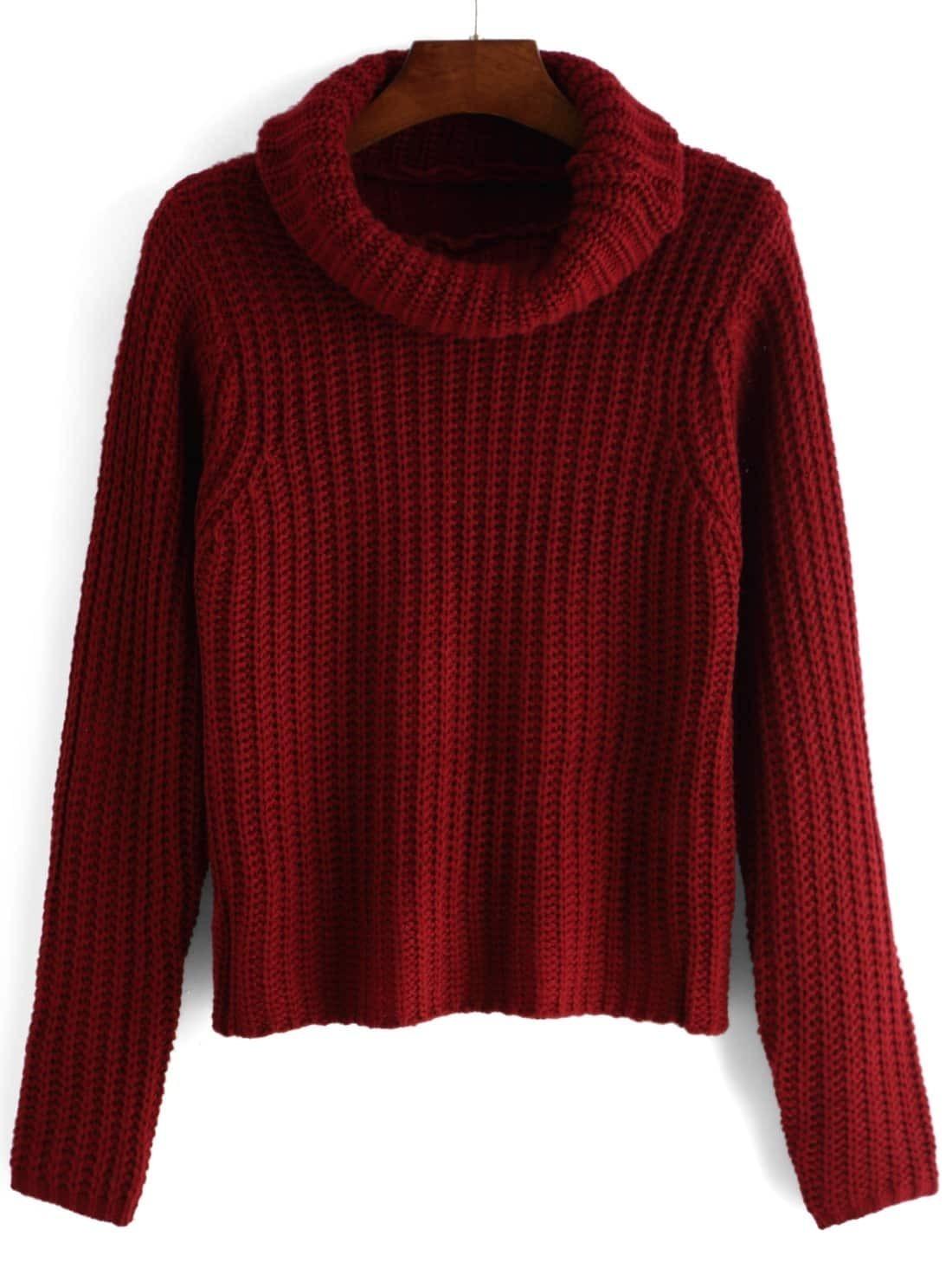 Turtleneck Long Sleeve Red Sweater -ROMWE