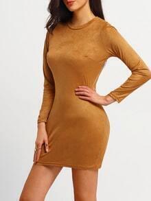 Brown Mock Neck Suede Bodycon Dress
