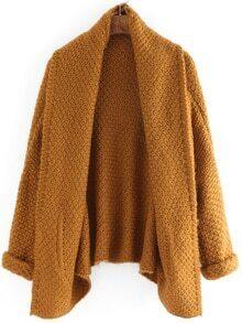 Lapel Pockets Loose Khaki Coat