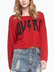 Red Dropped Shoulder Seam Letter Print Studded Sweatshirt