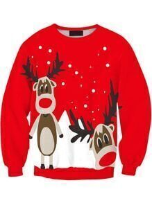 Women Red Christmas Moose Print Sweater