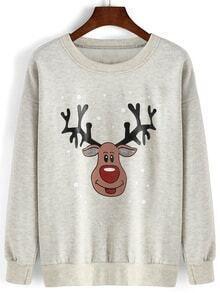 Cartoon Print Loose Grey Sweatshirt