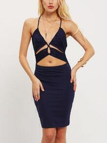 Navy Spaghetti Strap Cut Out Dress