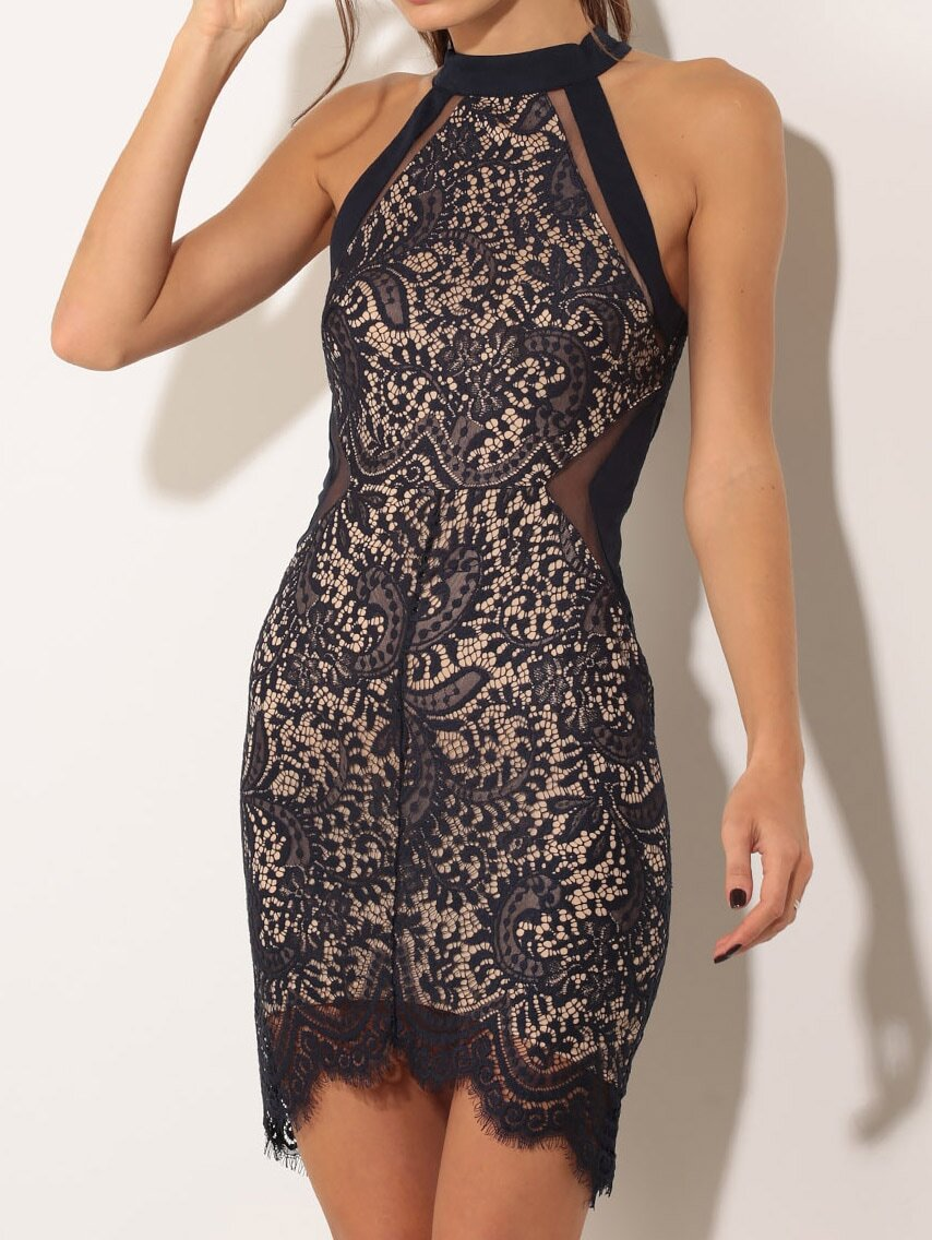 Halter Lace Bodycon Black Dress  b425ca8c7
