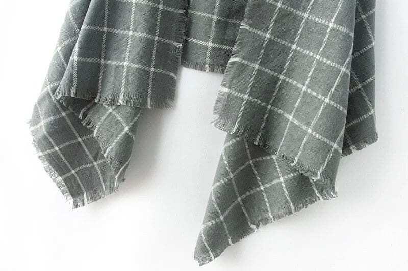 charpe plaid et franges f minine color french romwe. Black Bedroom Furniture Sets. Home Design Ideas