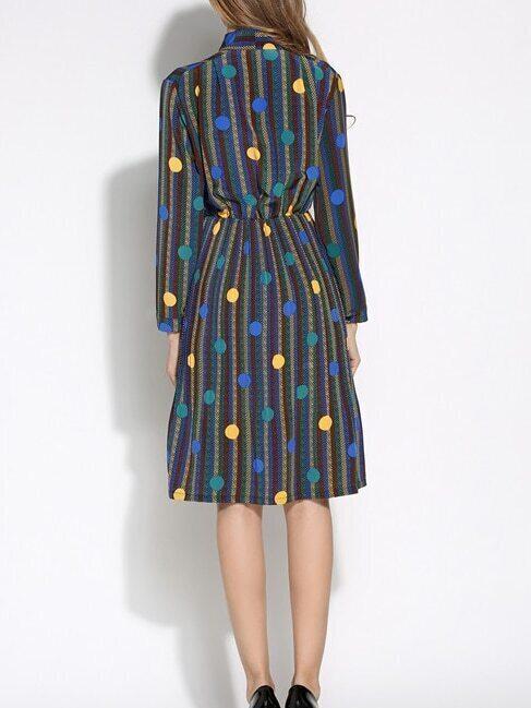 Vertical striped polka dot bow blue shirt dress for Vertical striped dress shirt