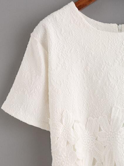 Lace Insert Jacquard White Blouse