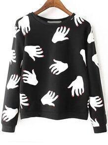 Hand Print Black Sweatshirt