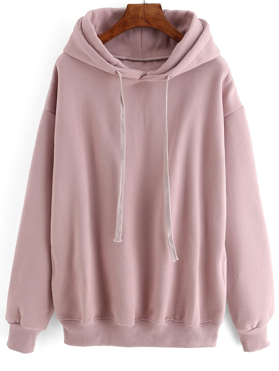 b2c442ed Hooded Drawstring Loose Pink Sweatshirt | ROMWE