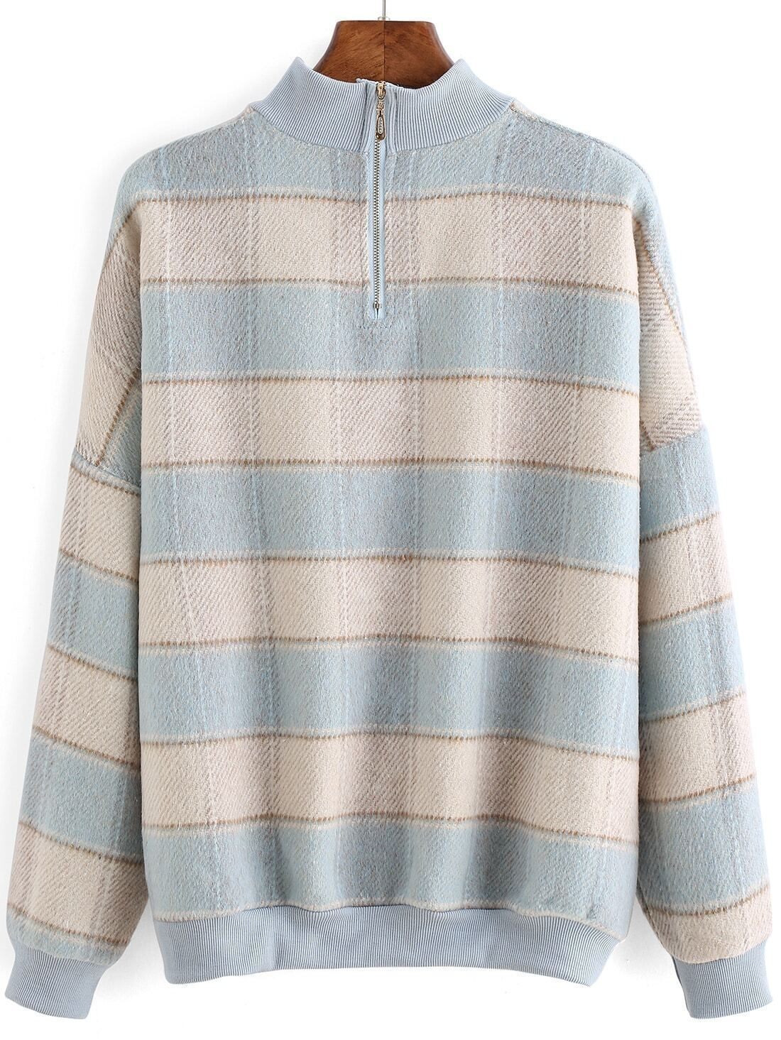 sweat shirt avec manches plaid bleu french romwe. Black Bedroom Furniture Sets. Home Design Ideas