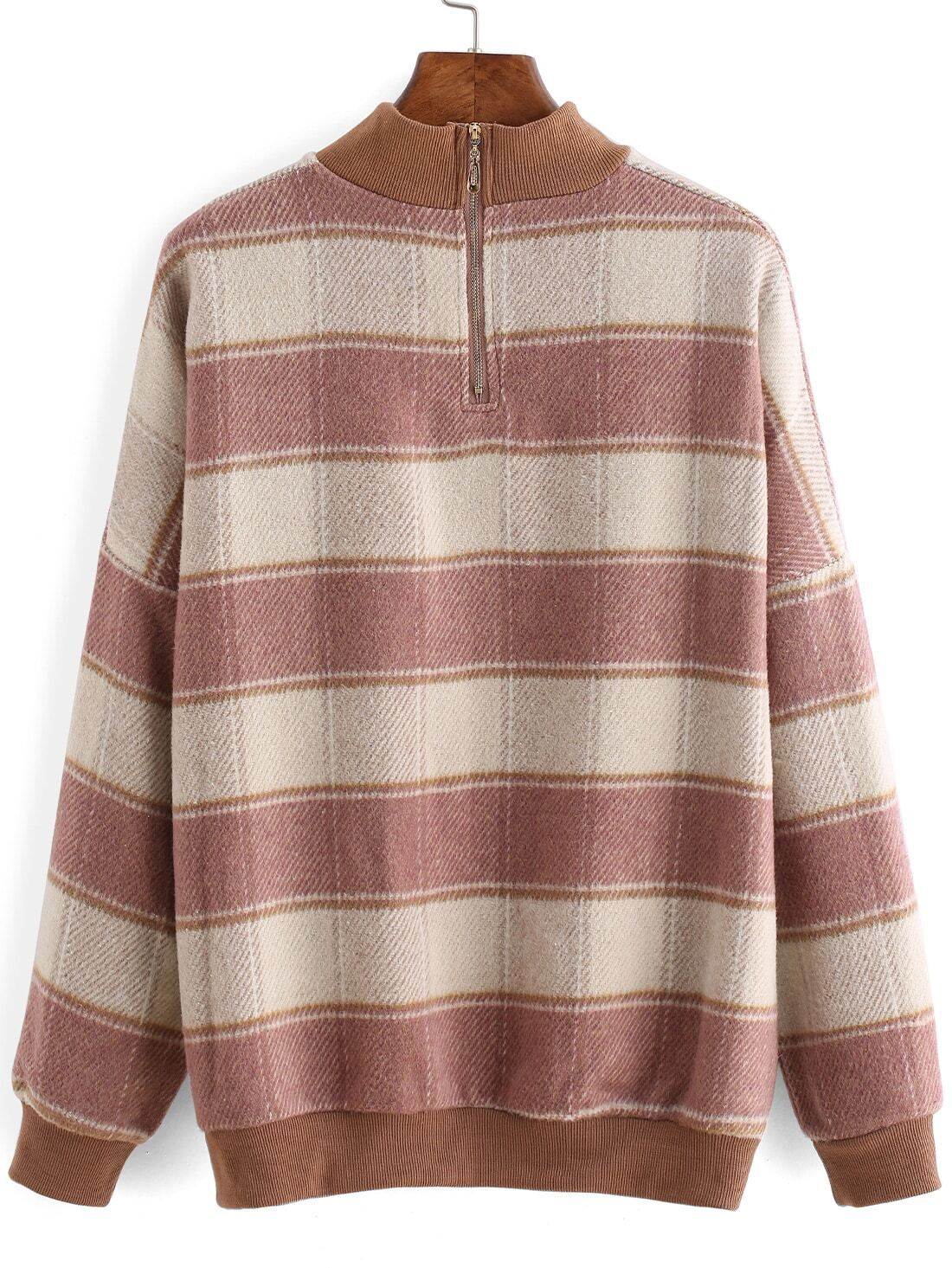 sweat shirt avec manches plaid rose french romwe. Black Bedroom Furniture Sets. Home Design Ideas