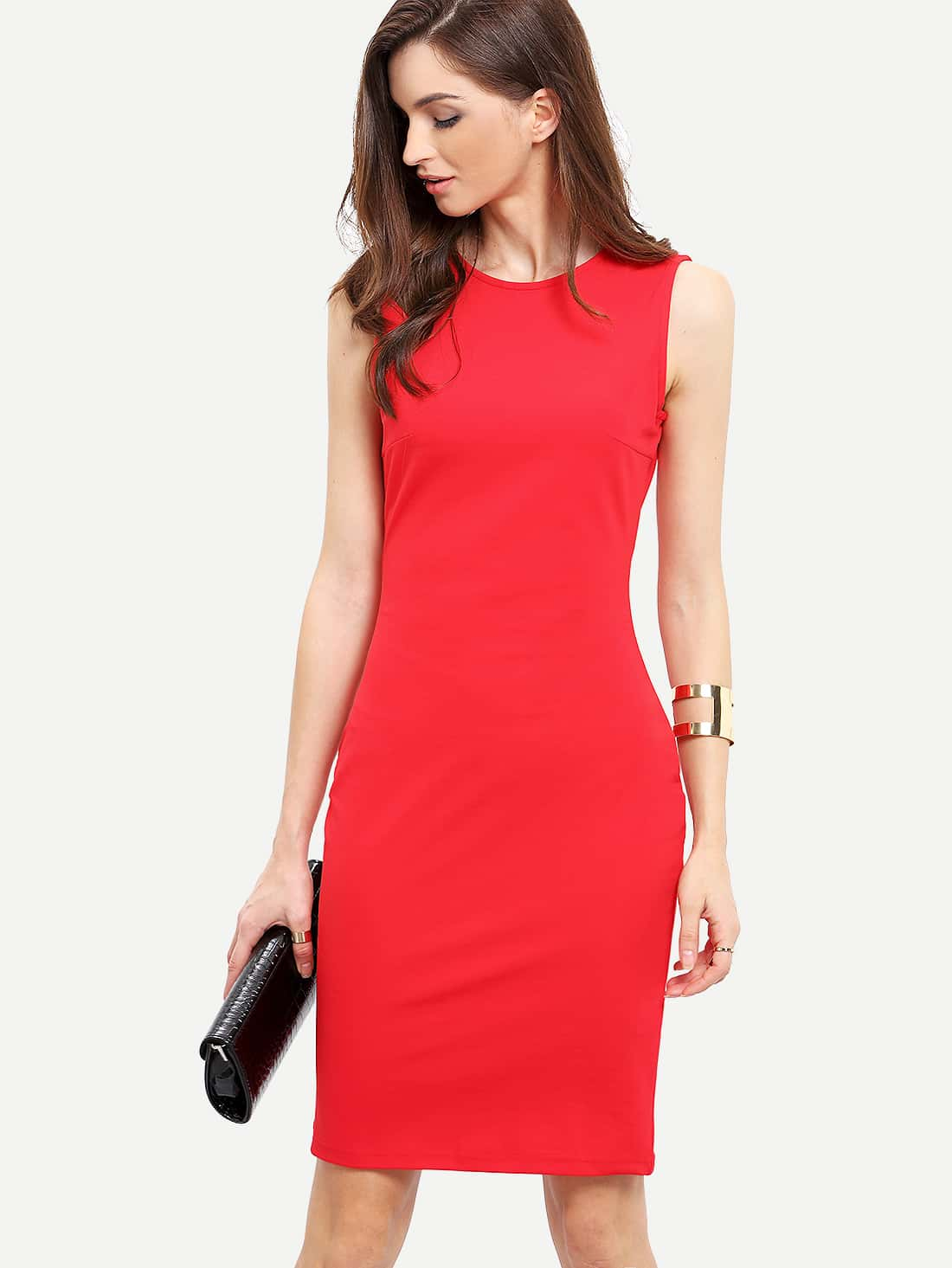 Red Sleeveless Knee Length Sheath Dress Mobile Site