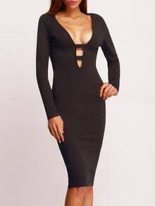 Black Deep V Neck Cut Out Sheath Dress