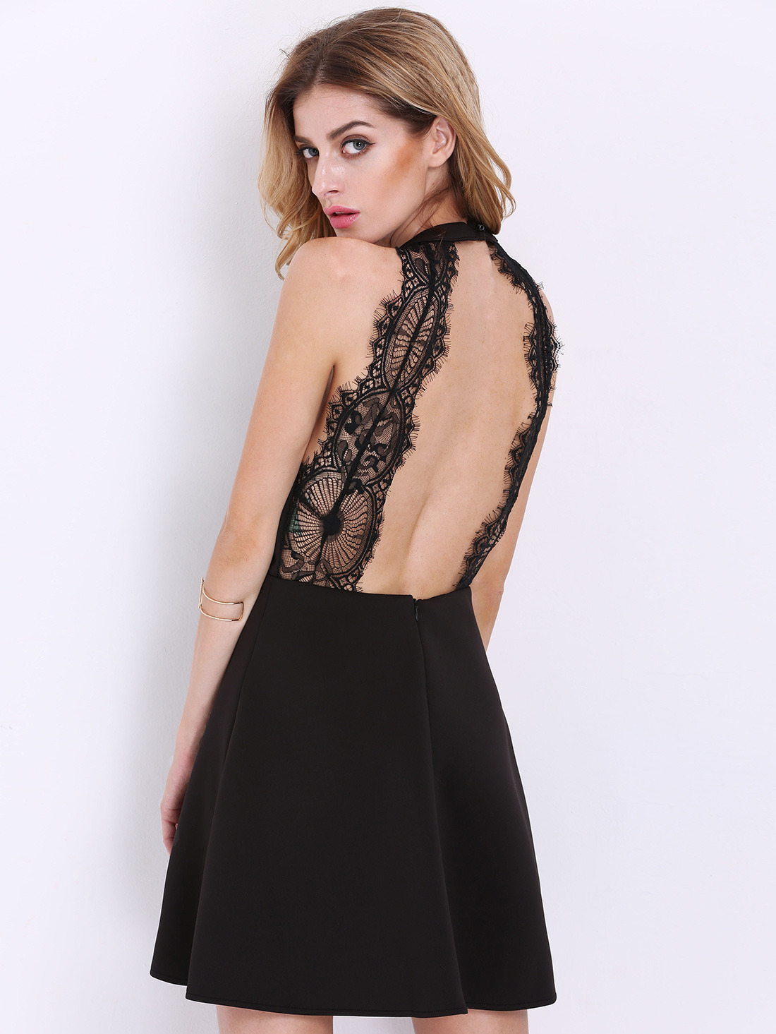 Black Halter Contrast Scallop Lace Backless Dress Exclude