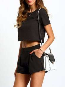 Black Short Sleeve Top With Shorts Suits