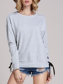 Grey Long Sleeve Lace Up Sweatshirt