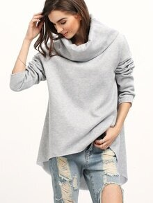 Grey Cowl Neck Long Sleeve Loose Sweatshirt