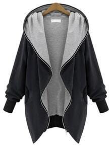 Black Hooded Long Sleeve Pockets Loose Coat