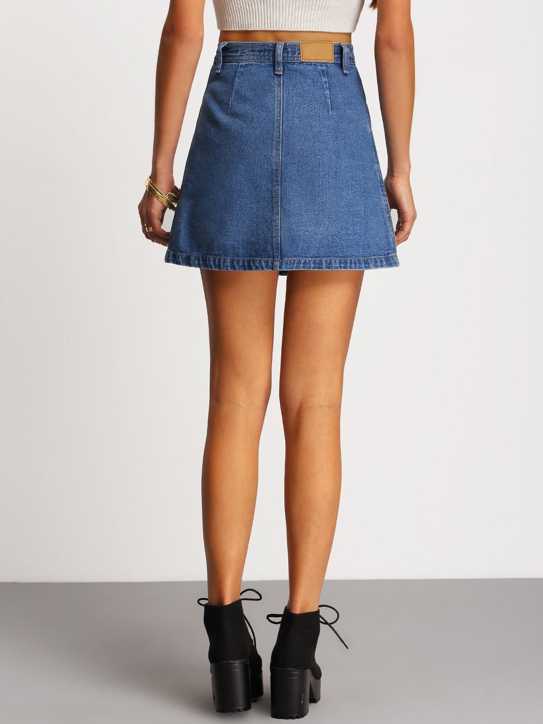 Single Breasted Denim A-Line Skirt  709494b9af32