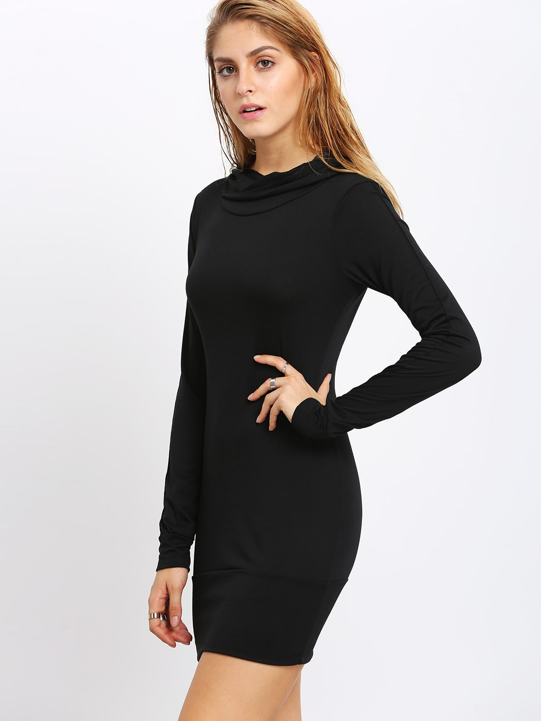 Black long sleeve bodycon dress x men