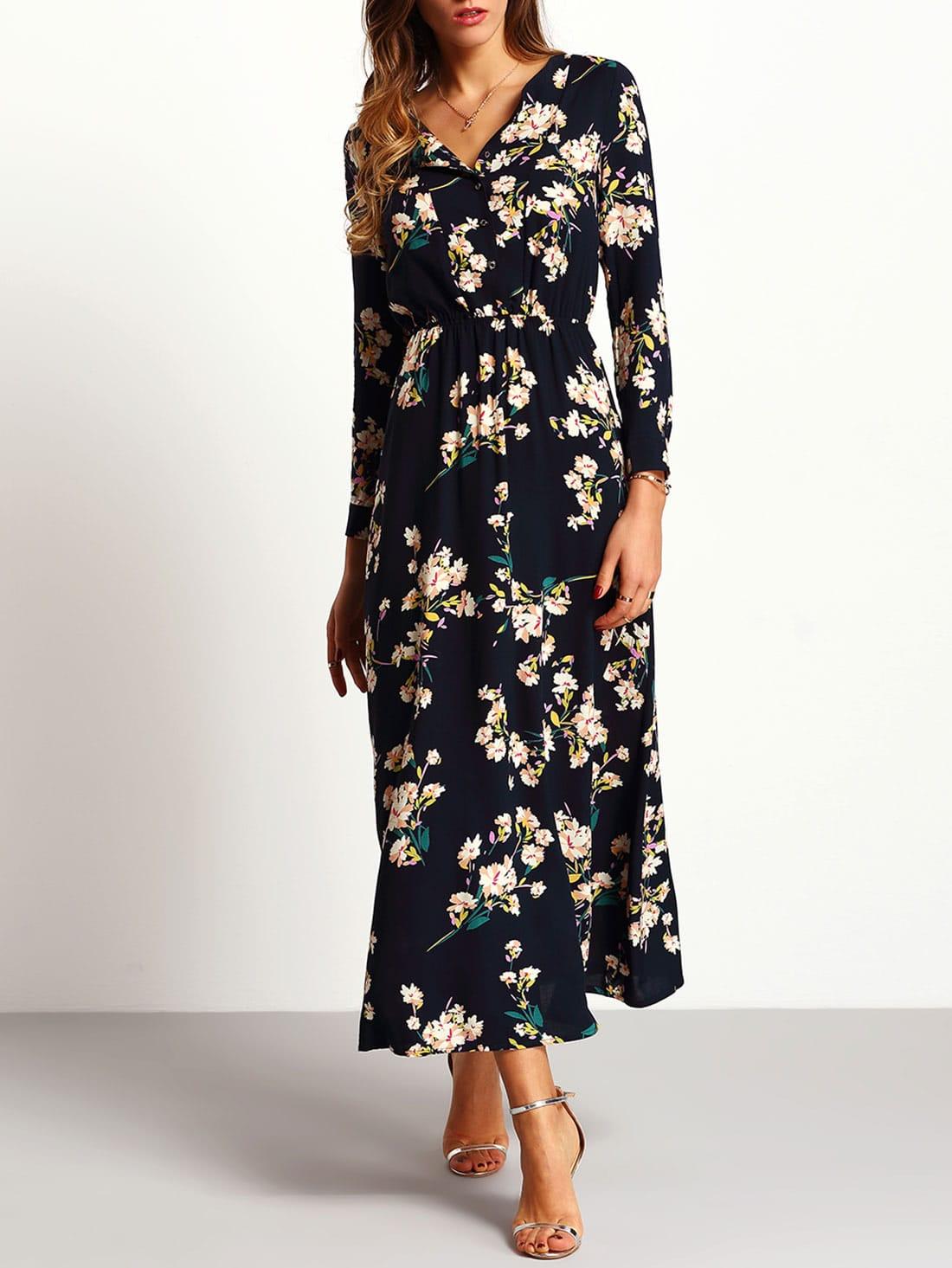 Kleid langarm mit blumenmuster-schwarz