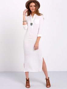 White Long Sleeve Split Maxi Dress