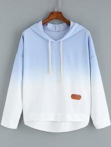 Blue Ombre Hooded Dip Hem Sweatshirt