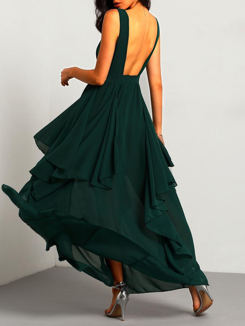 b3ddcfd3f9e2be Maxi robe en mousseline col V foncé -vert