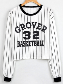 White Black Vertical Striped Letter Print Sweatshirt