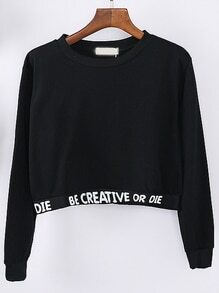 Black Letter Print Crop Sweatshirt