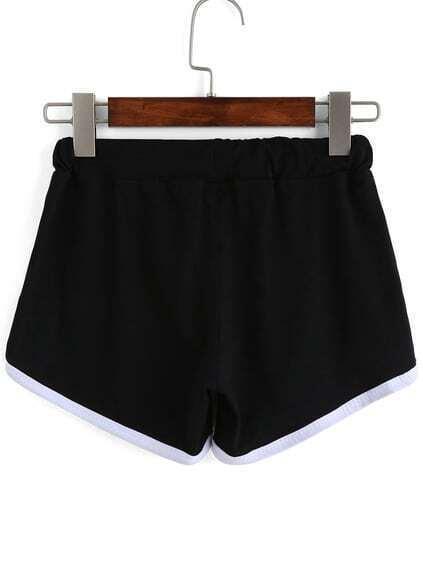 Contrast Draw Cord Waist Black Shorts
