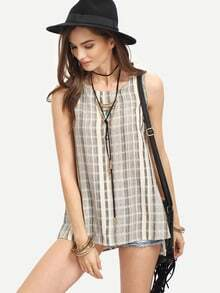 Vertical Striped Split Side Tank Top
