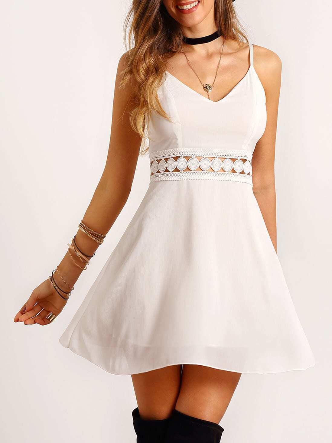 Spaghettiträger Kleid mit Spitzeneinsatz und V-Ausschnitt -weiß